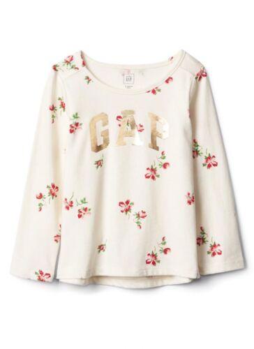 Gap Baby Girl Toddler Gold Logo Tee Shirt Top Floral Flower White 18-24 Months
