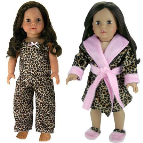 "Doll Clothes 18/"" Robe Pajamas Slippers Leopard Fits American Girl Dolls"