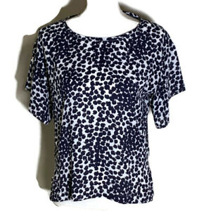 Ann Taylor Loft Womens Top Crew Neck Short Sleeve Blue White Blouse Work Size XS