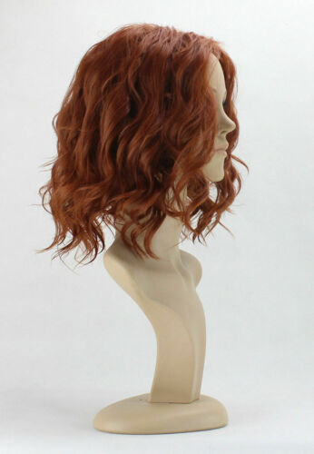 For Cosplay Black Widow Red Brown Short Wavy Hair Full Wig