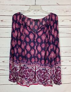 Lucky Brand Women's S Small Pink Purple Boho Long Sleeve Spring Top Blouse Shirt