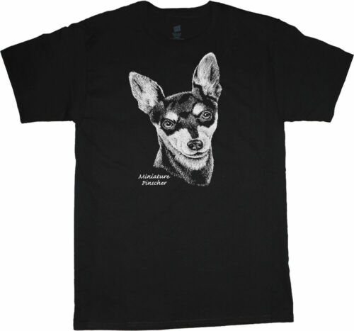 Miniature Pinscher T-shirt Dog Breed Face Portrait Tee Men/'s Dog Person Gift