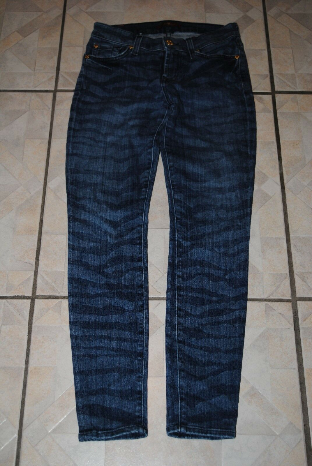 7 FOR ALL MANKIND The Crop Skinny in Laser Zebra Women's Size 24 Waist