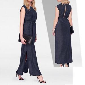 tolles Marken Abendkleid WOW Gr.34 XS nachtblau silber Maxikleid Lang KLEID sexy