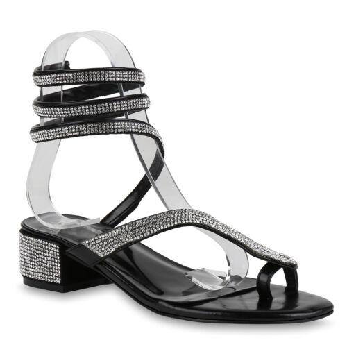 Damen Sandaletten Zehentrenner Metallic Dianetten Elegante 822291 Schuhe