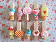 6 x Mixed Sweetie Ice Cream Resin Wooden Pegs Clips Card Holder Craft Decor