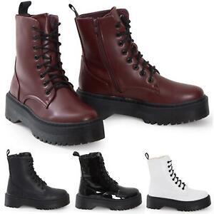 Détails sur Chaussures Femme Plateforme Hitop Militaire Punk BOTTINES MOTARDES en cuir PU à Lacets Vintage Bottes afficher le titre d'origine