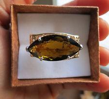 Estate Huge 11.47 carat amber green Tourmaline  & 14k yellow gold ring Size 7.3