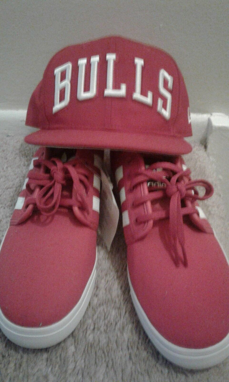 Adidas Men's shoes, Red with White stripes Size 9 wit free bulls hat.