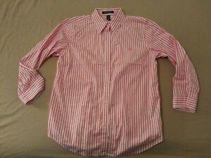 Womens-Polo-Ralph-Lauren-Dress-Shirt-M-Medium-Pink-Stripes-Cotton-Button-Blouse