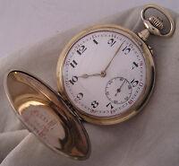 Swiss HI GRADE'1900 Antique Hunter 18J.Gold Plated Pocket Watch Perfect Serviced