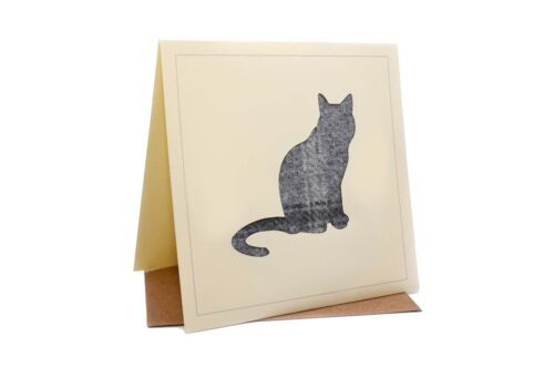 Cat Tweed Tartan Wool Silhouette Greeting//Birthday Card