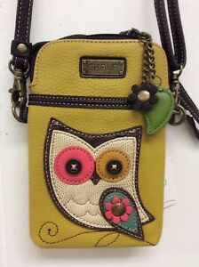 Chala Owl Yellow Cell Phone Crossbody Bag Small Convertible Purse New