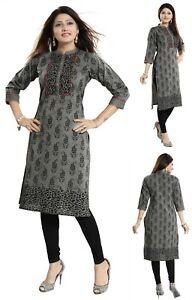 Women-Indian-Designer-Kurti-Black-Cotton-Printed-Tunic-Kurta-Shirt-Dress-NK23