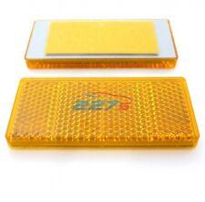 2x Amber Rectangular Reflectors Self-Adhesive 69mm x 31.5mm Gatepost Trailer