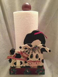 Vintage-Paper-Towel-Holder-Wooden-Country-Kitchen-Accent-Mama-Cow-Baby-Handmade