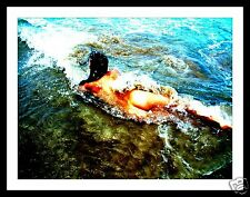 """TIDES IN - Abstract Australian Art Nude - Naked girl in surf - 8 x 12"""""""