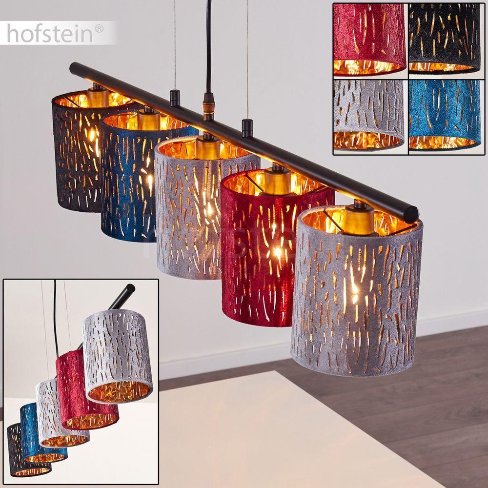 5-flammige Hänge Pendel Lampen moderne Schlaf Wohn Ess Raum Leuchten Samt bunt