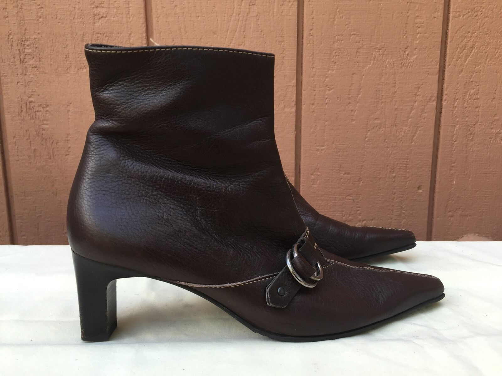 EUC PAUL GREEN Women's Brown Leather Handmade Ankle Boot US Sz 5