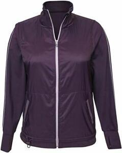 NWT-Womens-Tangerine-Active-Stripe-Exercise-Jacket-Full-Zip-Sz-XL-Plum