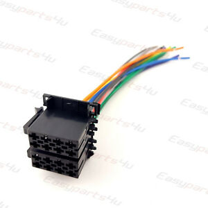 universal iso car radio adapter male plug car stereo wire harness rh ebay co uk Wire Harness Connector Kit Wiring Harness Terminals and Connectors
