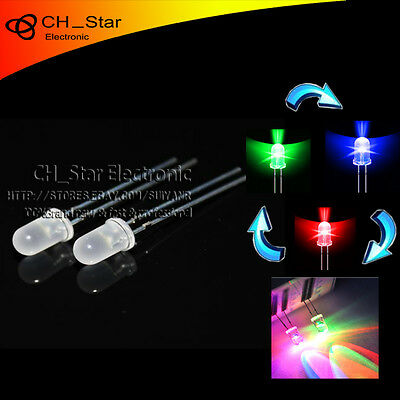 500pcs Diffused Fast Flash  LED 5mm RGB 2 pin Automatically flashing led Diodes