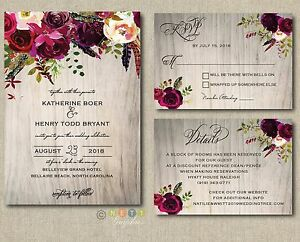 Personalized Wedding Invitations.Details About 100 Personalized Wedding Invitations Rustic Wood Burgundy Maroon Floral Suite