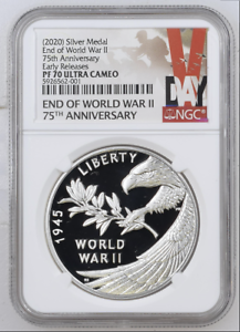2020 75TH ANNIVERSARY END OF WORLD WAR 2 ER-IN HAND 1oz SILVER MEDAL NGC PF70 UC