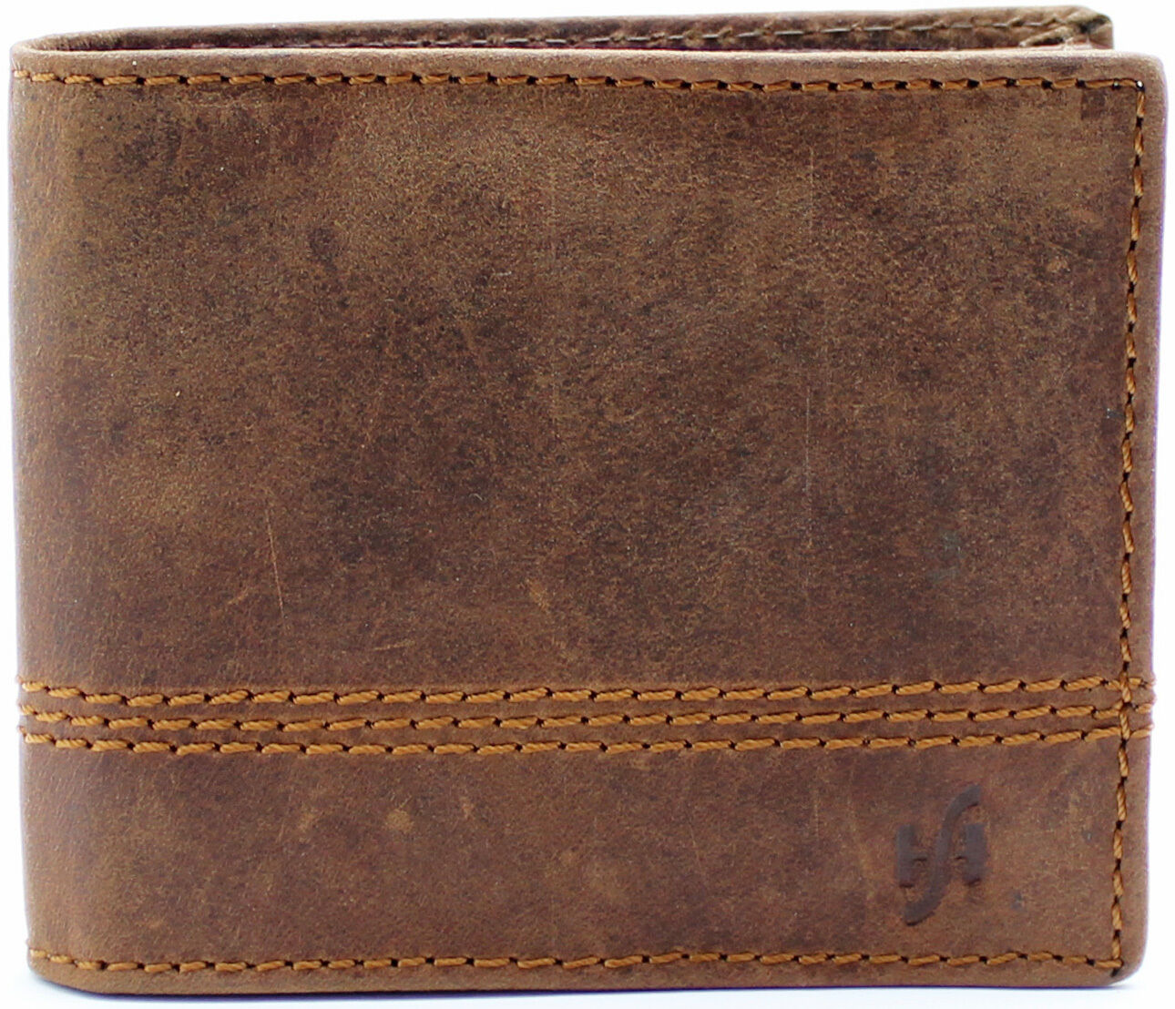 Mens Brown Distressed Hunter Leather Billfold Wallet With RFID Blocking