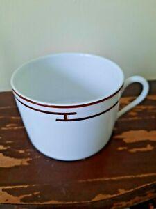 HERMES Porcelaine Paris Rythme Pattern Coffee Tea Cup NO Saucer No Box Red/White