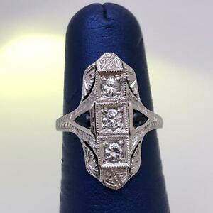 Womens-Sterling-Silver-925-Cz-Antique-Style-Round-Cut-Blue-Sapphire-Ring-Size-6