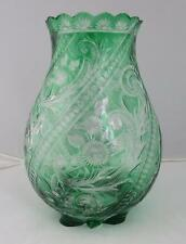 Stevens & Williams Emerald Green Cut To Clear Engraved Glass Vase ABP Brilliant