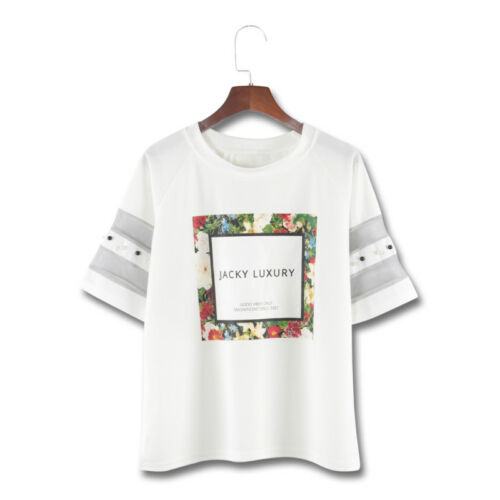 Women Mesh Beading T Shirt Patchwork Print Letter Casual Summer Short Sleeve Hot by Unbranded