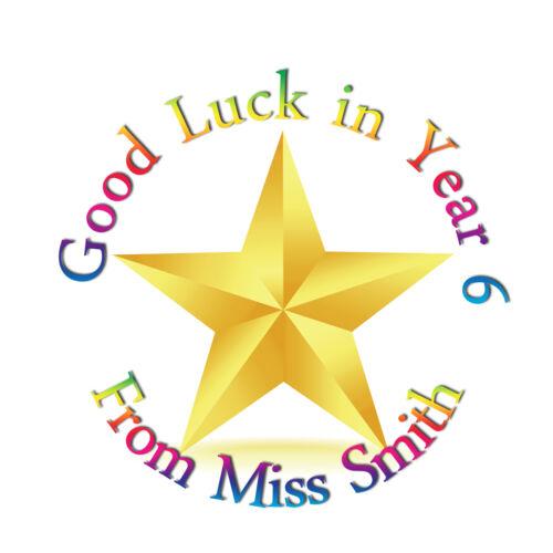 Teacher star school nursery 35 Personalised good luck Stickers Labels
