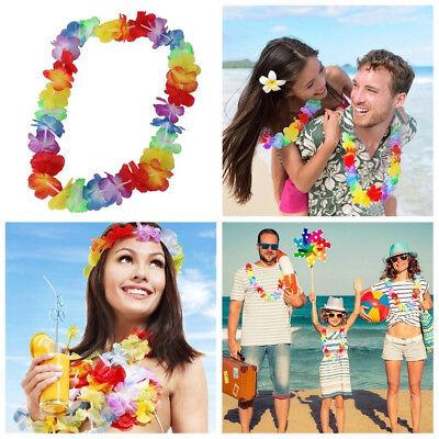 10pcs Hawaiian Flower Leis Garland Necklace Fancy Dress Party Hawaii Beach Decor