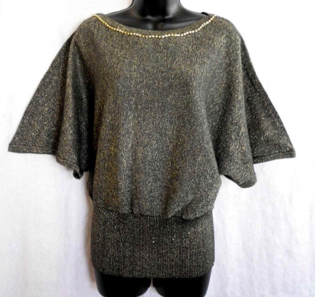 D.F.A. New York Knit Top Size L NWT Multi Rhinestone Cotton Blend Short Sleeve