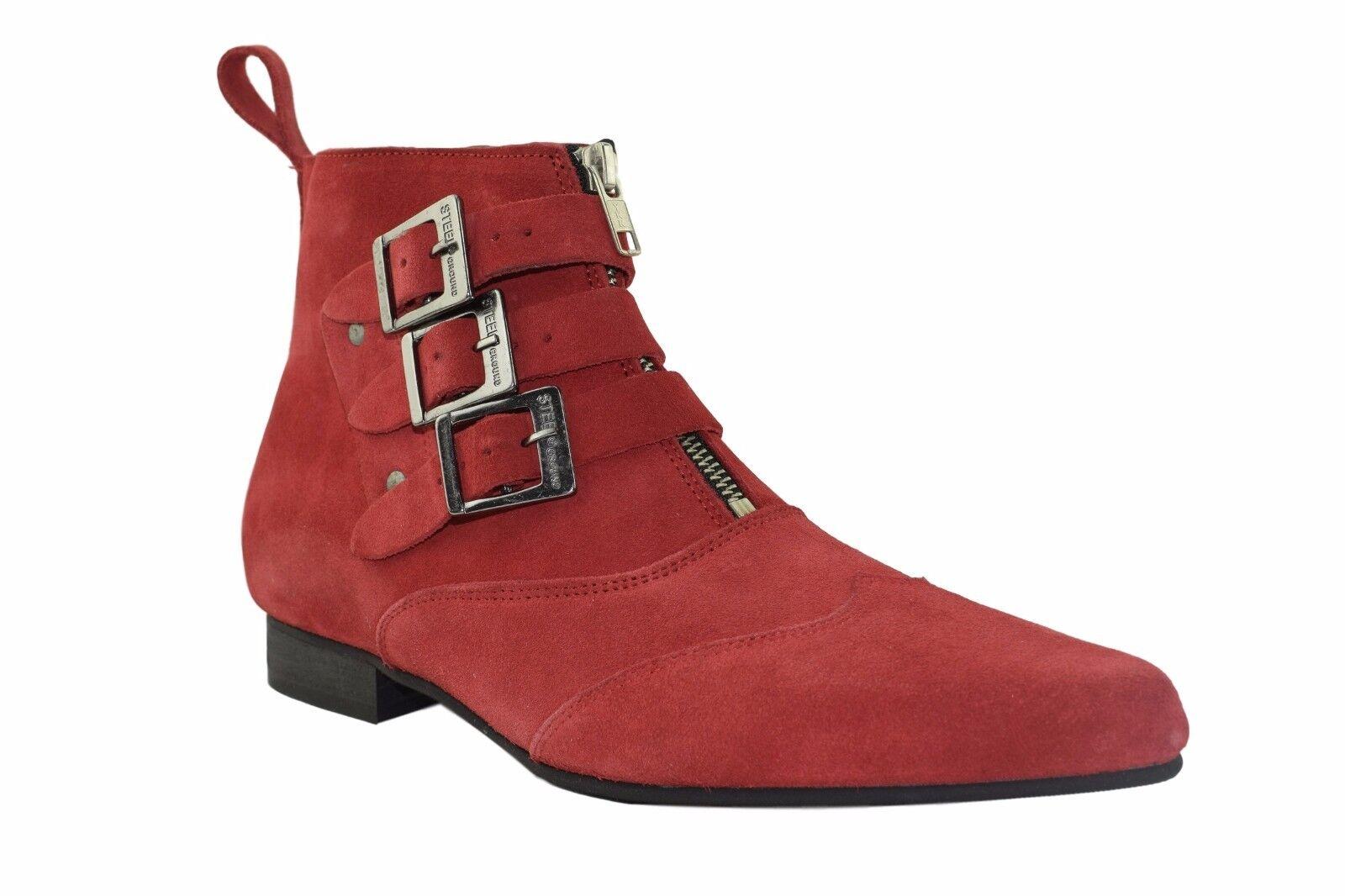 Tierra De Acero Rojo Gamuza Winklepicker botas al Tobillo Bota Hebilla Correas De 3 Sb011Z5