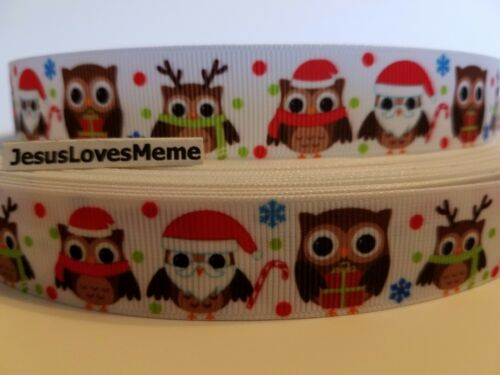 "7//8/"" Grosgrain Ribbon Christmas Owls Santa Claus Reindeer Gifts Candy Cane Snow"