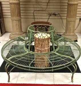 Tree-Bench-Plant-Stand-Wrought-Iron-Antique-Mint-Green-Finish