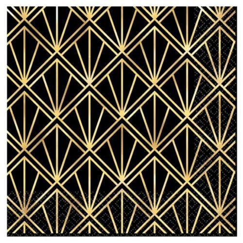 Hollywood Star Black Gold Birthday Party Tableware Paper Napkins Decoration