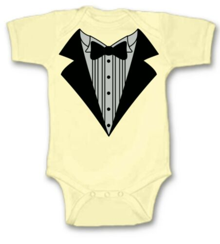 Details about  /Tuxedo Baby Bodysuit Creeper New Adorable Gift Short Sleeve