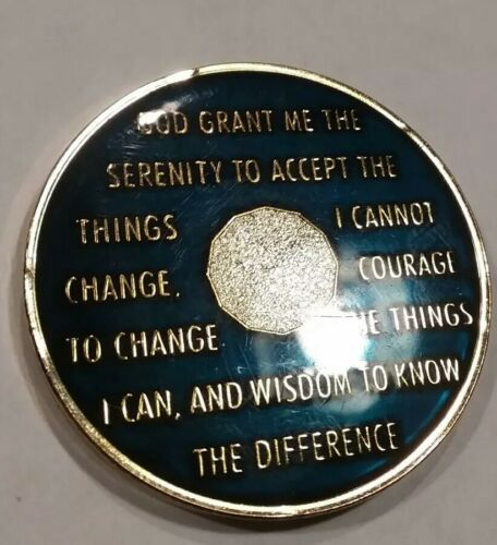 26 Year AA Sobriety Chip Recovery Challenge Coin Blue Enamel 1 3//4 Inch XXVI