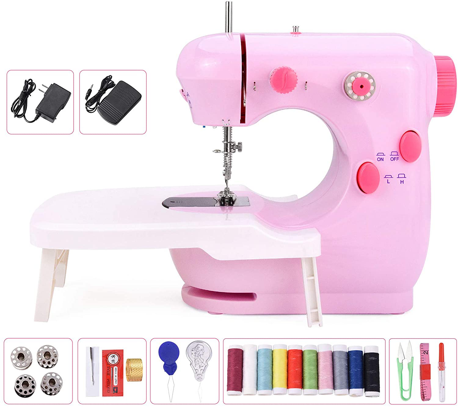 Portable Lightweight Household Sewing Kit for Beginner Yi Ran Mini Electric Sewing Machine with Upgrade Extension Table Double Thread and Adjustable 2-Speed with Foot Pedal for Home Crafting /& DIY Project