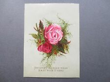 Antique Christmas Greetings Card Sweeter No Rose Romantic Victorian Chromo