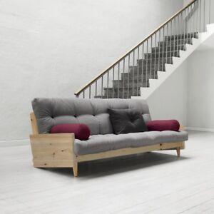 Dettagli su Divano Letto futon Indie Karup con struttura color legno