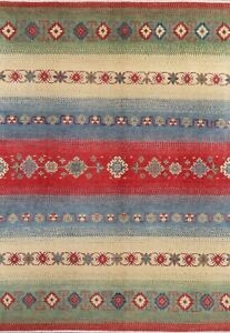 One-of-a-Kind-Super-Kazak-Oriental-Area-Rug-MODERN-Green-Blue-Red-Hand-made-7x10
