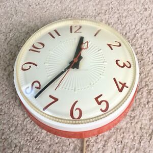 General Electric Red White Wall Clock