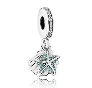 S925-Sterling-Silver-Tropical-Starfish-Shell-Dangle-Charm-Pendant-Fit-Bracelet