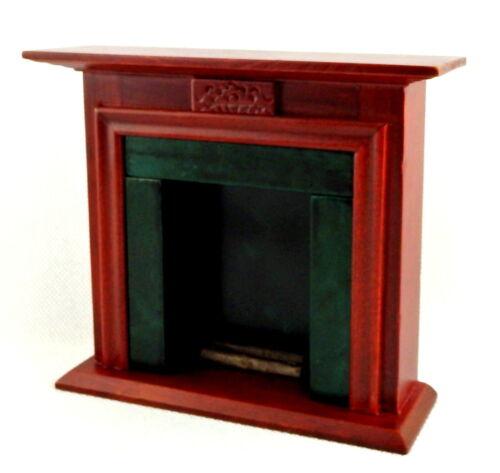 Melody Jane Dolls House Mahogany Hunter Green Fireplace w Logs 1:12 Furniture
