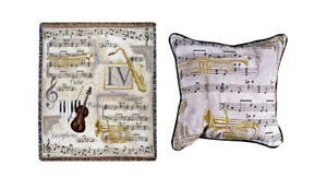 Musical-Instrument-Tapestry-Throw-Blanket-Afghan-and-Matching-Pillow-New-w-Tags